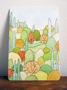 Perfect landscape watercolor postcard by Courtney Oquist
