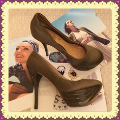 """SALELAMB Z-Project Satin & Lacquer dk taupe LAMB Z-Project Satin & Lacquer dark taupe heels.  These satin heels feature a 1.5"""" sculpted, lacquered platform and 4.5"""" sculpted, lacquered heel. Leather lining and sole. L.A.M.B. Shoes Heels"""