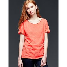 Gap Women Roll Sleeve Tee ($15) ❤ liked on Polyvore featuring tops, t-shirts, fire coral, petite, short sleeve tee, gap tees, short sleeve t shirts, petite tees and short sleeve tops