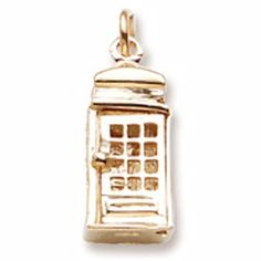 10k Yellow Gold Phone Booth Charm, Ch…