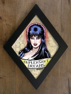 A monstrous illustration inspired by Elvira in diamond shaped frame. Each illustration is framed with a handmade one piece wood frame painted in matte black. The front panel is made from clear ac. Horror Decor, Horror Art, Big Cartel Shops, Goth Home, Gothic Home Decor, Gothic House, Halloween Horror, Dream Decor, Diamond Shapes