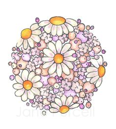 This is an original drawing that I have copyrighted. It's one of my favorites and I believe that it would be charming on a cupcake wrapper.  Thanks!   Daisy Globe Art Print 8 x 10 Blushing Orb. $14.95, via Etsy.