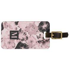 Wild Rose Pattern Millennial Pink Monogram Bag Tag - monogram gifts unique custom diy personalize