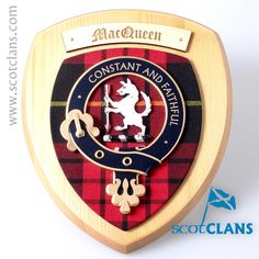 MacQueen Clan Crest Wall Plaque. Free worldwide shipping available