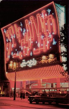 Cinema Radio City in Tehran by Heydar Ghiaï-Chamlou [1967]. The façade exhibits the introduction of Googie design into Iran through its outlandish neon geometry. The entire of the...
