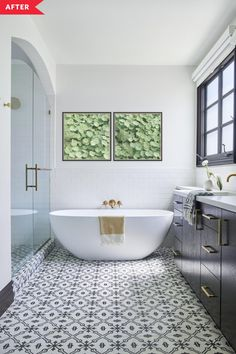 After: Bathroom with patterned tile floor, freestanding tub, and black vanity Tan Bathroom, Serene Bathroom, Rental Bathroom, Bathroom Renos, Modern Bathroom, Master Bathroom, Classic Bathroom, Bathroom Ideas, Bathroom Inspo