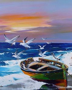 Dinghy, Seagulls And Sea~ Christian Jequel Seascape Paintings, Landscape Paintings, Oil Paintings, Art Plage, Boat Art, Boat Painting, Pictures To Paint, Watercolor Paintings, Art Gallery