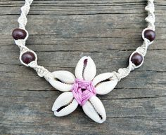 Hemp Shell Necklace, Cowrie Shell Jewelry, Pink Flower, Shell Pendant, Handmade Hemp Jewelry