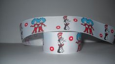 "GROSGRAIN DR. SEUSS THING 1 THING 2 1"" INCH RIBBON *YOUR CHOICE 1,3 OR 5 YARDS*"