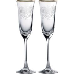 ROYAL ALBERT Champagne flute pair ($61) ❤ liked on Polyvore featuring home, kitchen & dining, drinkware, handmade wine glasses and royal albert