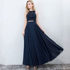 2 Piece Navy Blue Prom Dresses 2017 A-Line / Princess Scoop Neck Sleeveless Floor-Length / Long Ruffle Chiffon Formal Dresses Stunning Prom Dresses, Navy Blue Prom Dresses, Sparkly Prom Dresses, Simple Prom Dress, Prom Dresses 2017, Gala Dresses, Lovely Dresses, Black Tulle Dress, Satin Formal Dress