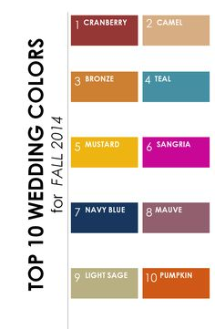 Top 10 Wedding Colors for Fall 2014 http://www.theperfectpalette.com/2014/06/top-10-wedding-colors-for-fall-2014.html