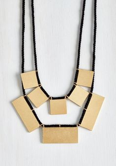 My Geo My Necklace in Gold Rectangles. Follow the math to accessorizing excellence by styling this layered necklace with all your favorite looks! #black #modcloth