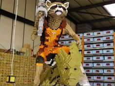 """Rocket Raccoon and Groot from """"Guardians of the Galaxy"""" look even cooler when made out of hundreds of Lego bricks."""