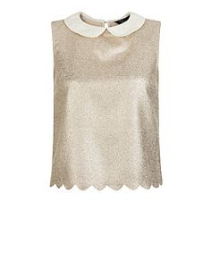 Teens Gold Contrast Foil Scallop Collar Sleeveless Top  | New Look
