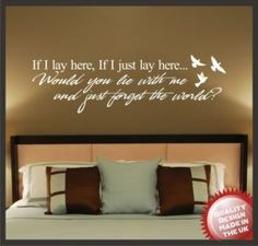 Snow Patrol If I lay here quote wall art Sticker. £10.99