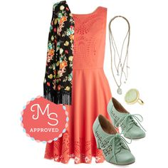 Invitation Designer Dress in Coral by modcloth on Polyvore featuring Chelsea Crew
