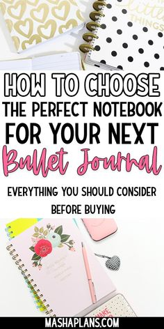 How to start a Bullet Journal? With a good notebook! But it's so hard to choose the perfect one for you with all the choices available. Check this post for all the things you should look into when buying your next journal. Best Bullet Journal Notebooks, Bullet Journal For Beginners, Bullet Journal Printables, Bullet Journal How To Start A, Cool Notebooks, Journal Template, Bullet Journal Layout, Bullet Journal Inspiration, Journal Ideas