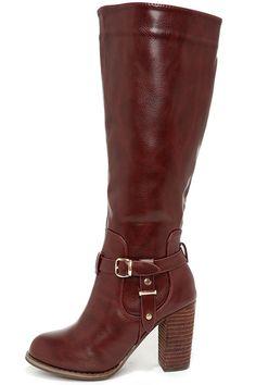 Wine Red Knee High Heel Boots ==