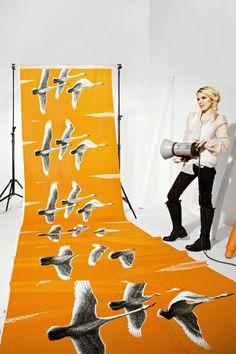 Homewards Orange - Curtain and Upholstery Fabrics - Fabric