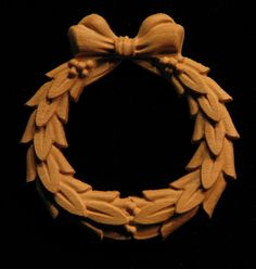Carved Onlay - Laurel Wreath with Bow