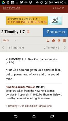 I tell you God sure does have a way of doing things. I waa talking to my nana about this scripture. She said you can't have both you either going to have fear or power and love and sound mind. Stop claiming you have fear like it is a award. { Proverbs 18:21- The tongue has the power of life and death and those who love it will eat it's fruit. } Then God reminded me of what my Apostle told me. It just blows my mind sometimes how God does stuff.
