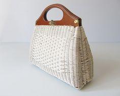 vintage White Wicker Handbag / Wood Handle by TheVintageMistress
