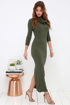 LuLu*s Exclusive! If you're down to lounge, be sure you're doing it in style with the Luxury Lounge Olive Green Long Sleeve Dress! Lightweight ribbed knit keeps things casual as it shapes a relaxed turtleneck and long fitted sleeves. Bodycon skirt extends to a mid-calf length for a look that's chic and sophisticated!