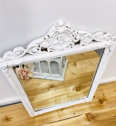 Excited to share this item from my #etsy shop: White Ornate Vintage Mirror, Shabby Chic White Vintage Mirror