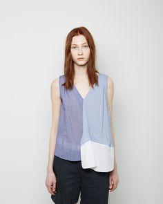Band of Outsiders  Patch Stripe Sleeveless Faux Wrap Shirt | La Garconne
