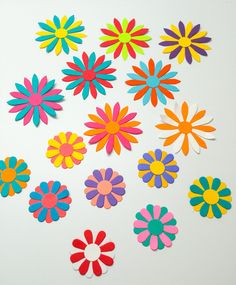 Paper daisies - White daisies - Bright flowers - Paper flowers - colorful flowers - Scrapbooking - Embellishments- neon flowers - handmade by Wcards on Etsy