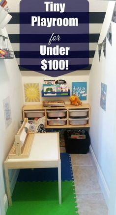Tiny Playroom for Under $100! Such a cute and easy play space with toy organization!