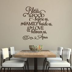Bless the Food Before Us, Family Beside Us, Love Between Us Fancy Vinyl Wall Kitchen Decal Sticker on Etsy, $13.99