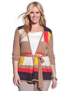 eloquii Plus Size Striped Colorblock Cardigan eloquii. $35.94