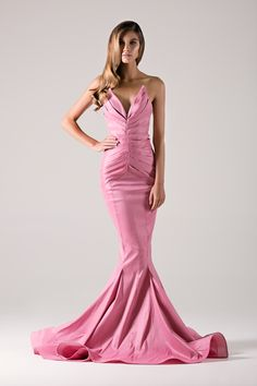 Pink taffeta mermaid gown with symmetrically pleated top design.- Michael Costello US Size Chart- Made true to size- When choosing height, include the inches of your heels- If you select custom, one of our representatives will contact you for size information- Dry clean only