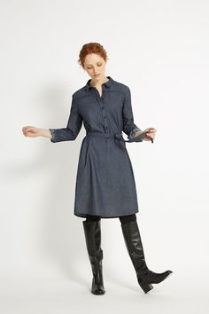 Shirt dress with tie belt and yoke detail. This 100% organic cotton chambray dress is a versatile, trans-seasonal piece. Elle is 5'7 and is wearing a size 10.