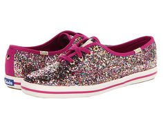 Kate Spade New York Glitter Multi Glitter/Vivid Snapdragon Pink Satin - Zappos Couture