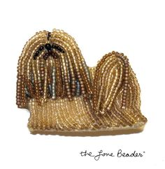 Beaded LHASA APSO dog pin/ pendant wearable art by thelonebeader, $95.00