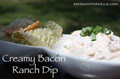 YUM! Super Easy Creamy Bacon Ranch Dip. You had me at Bacon!