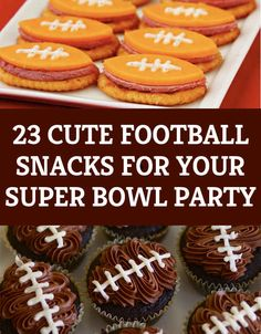 The Super Bowl XLIX is quickly approaching. Here are some unique football themed snacks to make for your super bowl party! Football Treats, Football Party Foods, Football Tailgate, Tailgate Food, Football Food, Football Season, Football Birthday, Soccer Snacks, Football Cupcakes