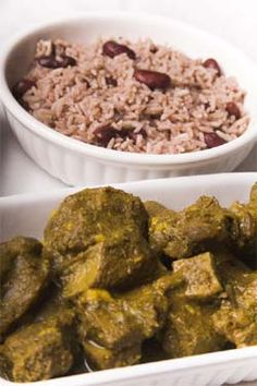 Yummy curried goat & rice n peas...a great hearty carribean meal