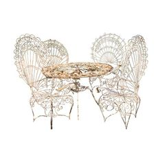 Image of Salterini Ornate White Iron Peacock Chairs W Table