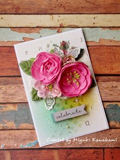 Celebrate card - Scrapbook.com - premade floral embellishments make it easy to adorn a lovely handmade card!