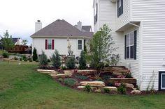 backyard design – Gardening Tips Garden Front Of House, Backyard Garden Landscape, Garden Landscape Design, House Landscape, Garden Paths, Landscaping A Slope, Landscaping Ideas, Front Yard Decor, Traditional Landscape