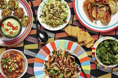 Baked Broccoli Fritters with Spicy Avocado Dip, Whole Roasted Cauliflower, Quicker-than-toast Courgette Salad, Mushroom Rosemary and Arame Sauté, Carrot and Flax Crackers, Braised Fennel with Lemon and Rosemary, watercress salad. Whole Roasted Cauliflower, Broccoli Cauliflower, Diet Recipes, Cooking Recipes, Healthy Recipes, Hemsley And Hemsley, Broccoli Fritters, Avocado Dip, Watercress Salad
