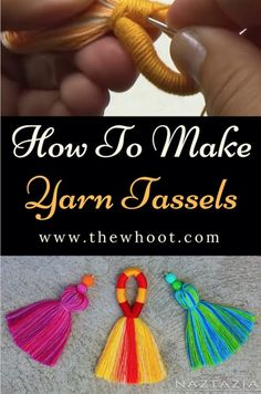 Crochet How To How To Make Tassels Out of Yarn Video Instructions - Learn how to make tassels out of yarn. You can use them for earrings, blankets and a myriad of other craft projects. We have a video tutorial to show you how. Check out our post now. Easy Yarn Crafts, Diy Crafts To Sell, Sell Diy, Diy Tassel, Tassel Jewelry, Weaving Yarn, Basket Weaving, Yarn Projects, Crochet Projects
