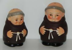 """Goebel Friar Tuck Monks Salt and Pepper Shakers Set 1950's . $60.00. This is a great collectible set of Goebel Friar Tuck Monks Salt and Pepper shakers. Goebel markings on the bottom of the set, Western Germany and large Bee located on bottom, period 1950's.  One monk has three holes and the other has two holes in their head. Approx. size of the salt & pepper shakers is 2 1/4"""" tall.   Plastic stopper still in place."""
