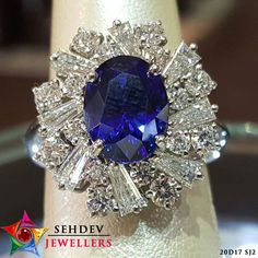 Beautiful blue sapphire #gemstones  studded #ring  at Sehdev Jewellers