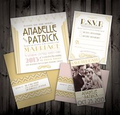 Great Gatsby Art Deco Themed Wedding Invitations and Save the Date. $6.50, via Etsy.