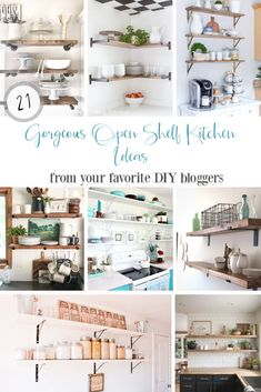 21 gorgeous open kitchen shelving ideas you can DIY yourself today along with source lists for the fabulous bracket styles!  Lots of kitchen shelf ideas including rustic kitchens and modern farmhouse style.